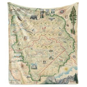 Lovely map of Yosemite on a large, thick fleece blanket.