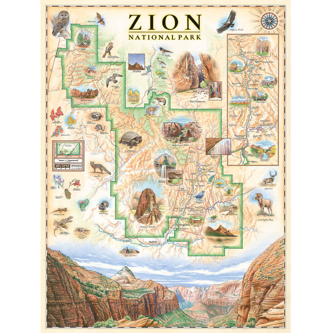 Zion National Park Map Poster Art Print
