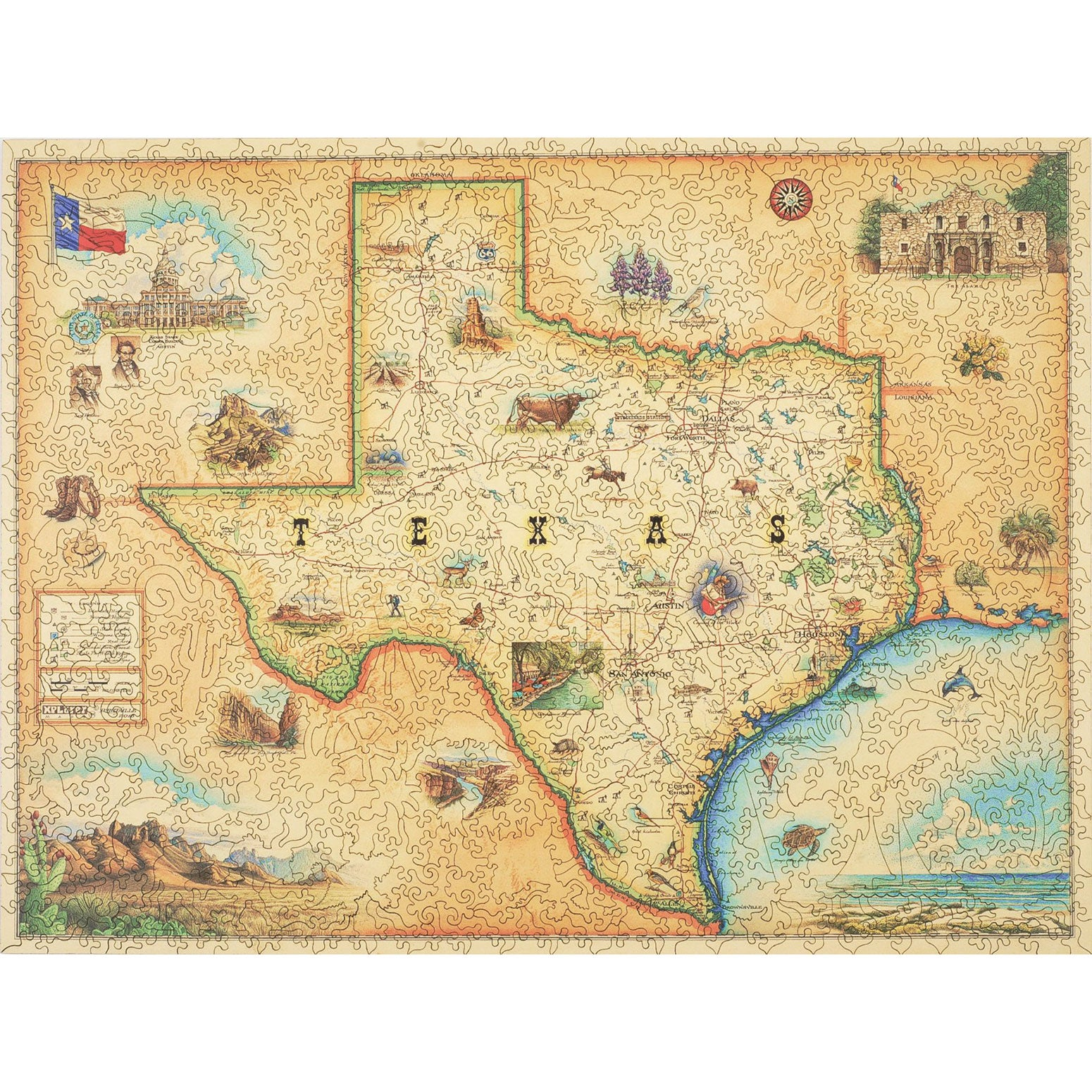 Texas Map Wood Puzzle - Xplorer Maps
