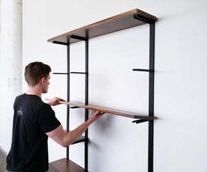 wall mounted shelving _ industrial shelving _ custom shelving _ wall mounted book shelf _ vault furniture _ steel shelving