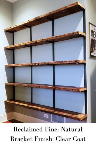 Reclaimed Pine Natural Finish with Clear Coat Brackets