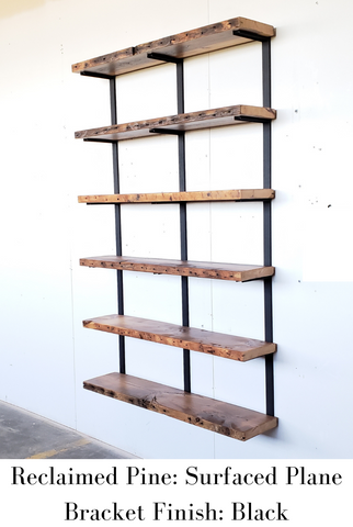 Reclaimed Pine Surfaced Plane with Black Brackets
