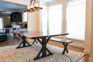 Live edge dining set + trestle dining table + vault furniture