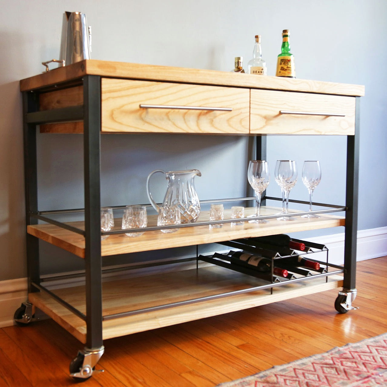 ash bar cart , kitchen island , industrial island