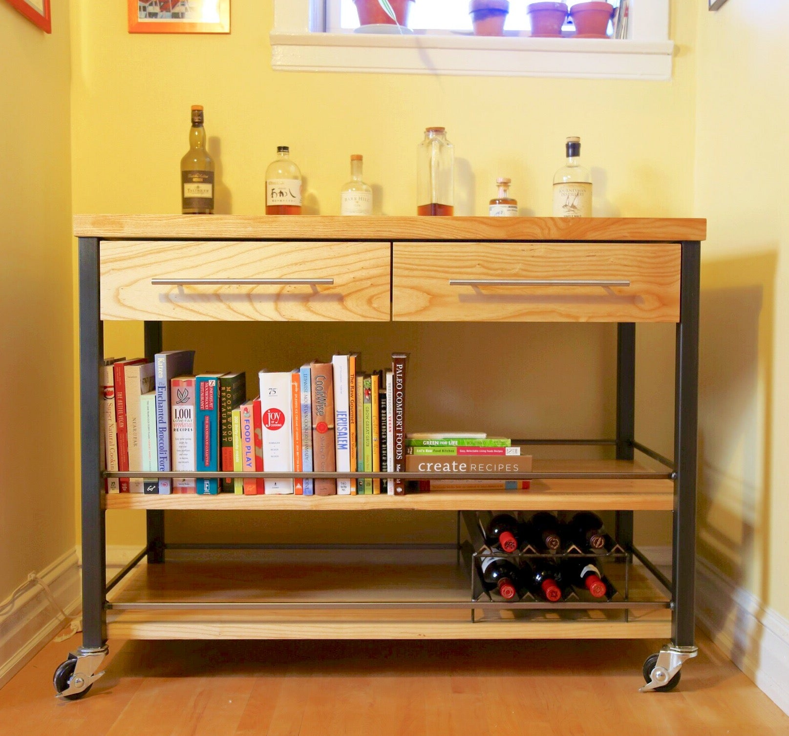 vault furniture ash kitchen cart, bar cart with drawers