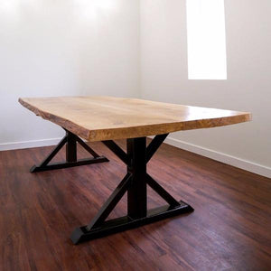 Live Edge white oak table + trestle dining table