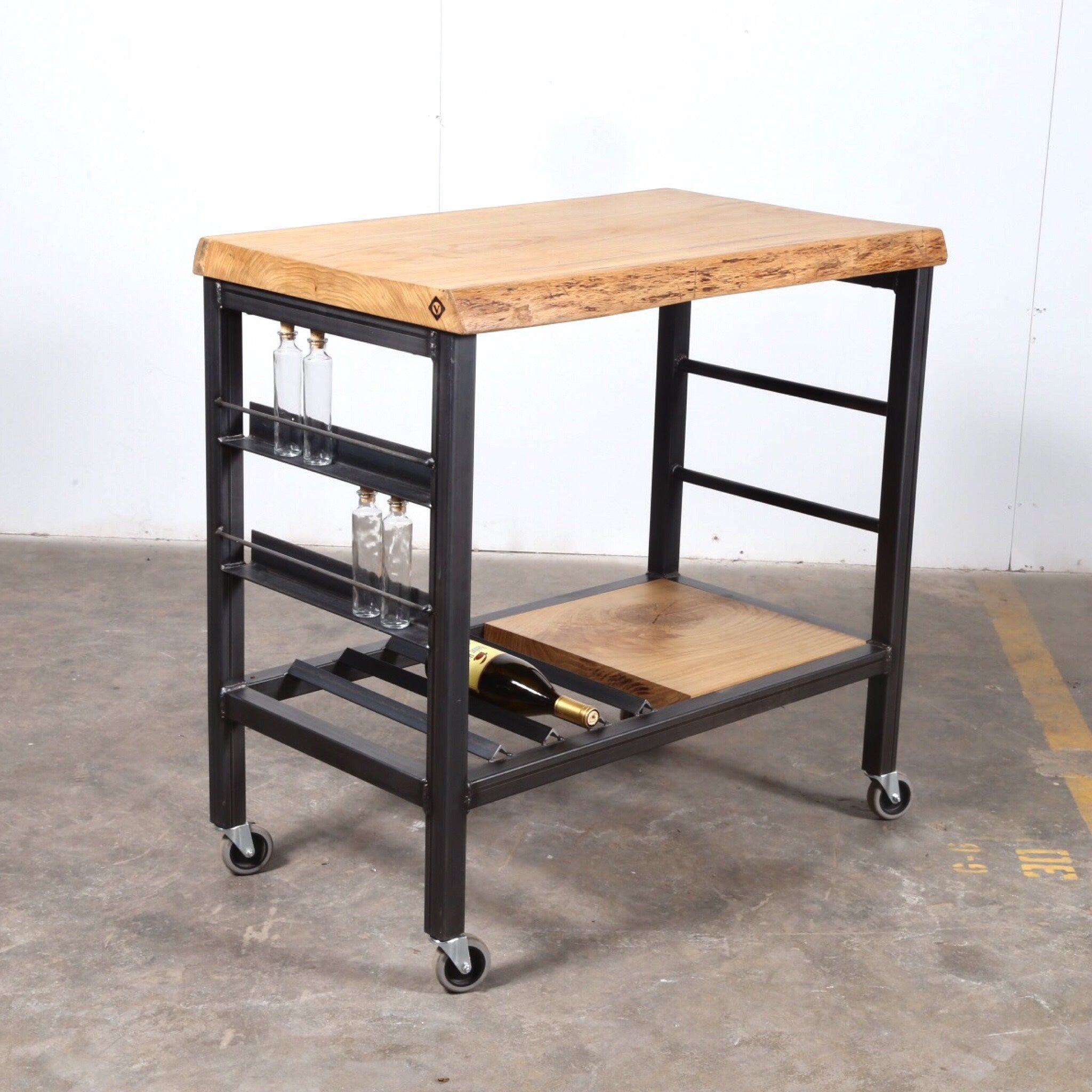 white oak bar cart, steel cart, live edge bar cart