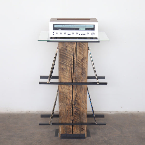 Vault furniture turntable pedestal , reclaimed wood record stand , steel and pine