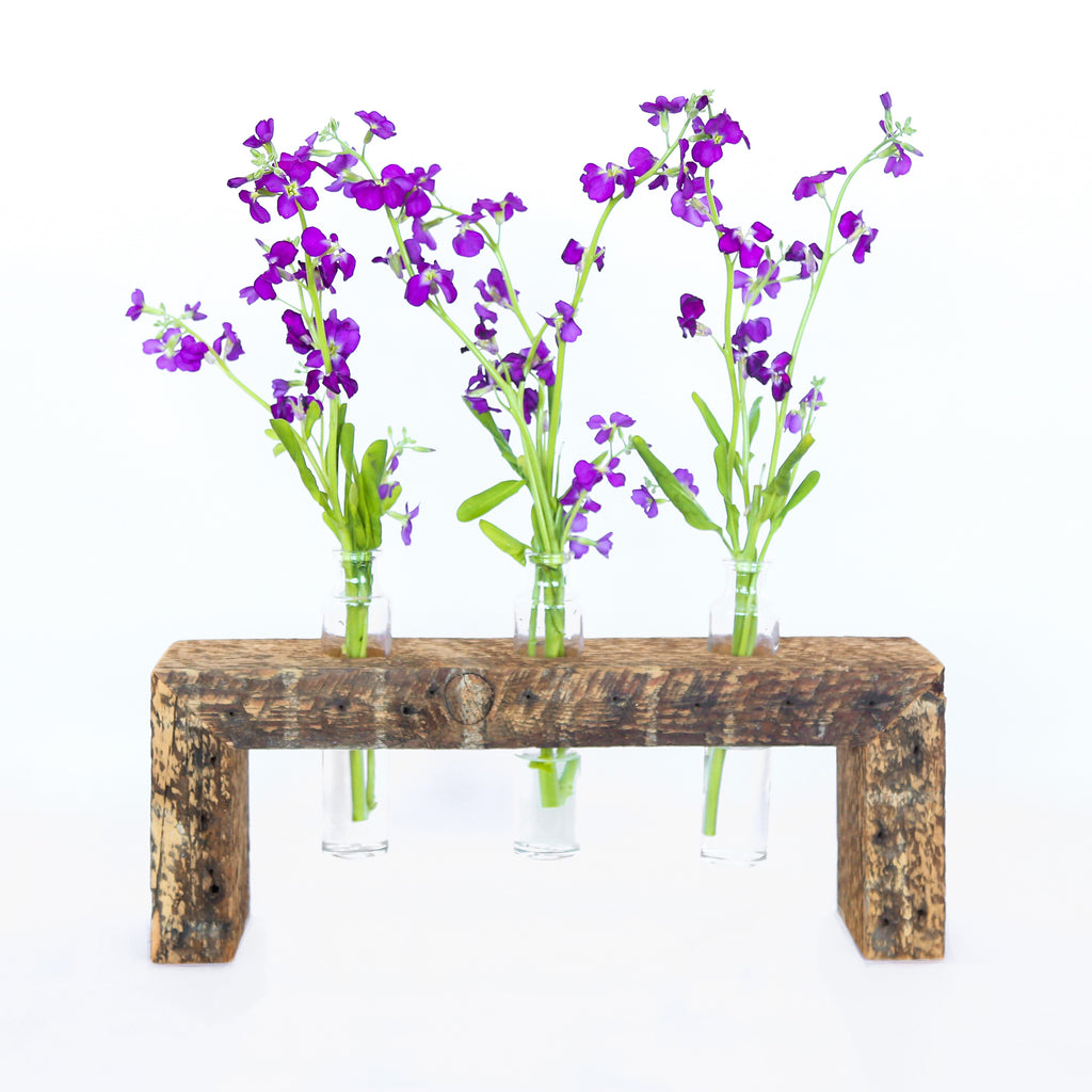 three bottle bud vase stand