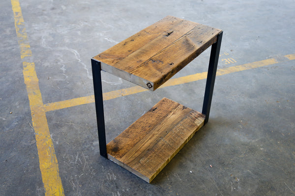 asymmetrical side table, vault furniture side table , reclaimed pine and steel side table, floating side table, occasional table , unique side table, Chicago handmade table , industrial side table