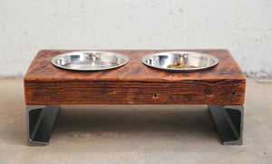 elevated dog bowl , reclaimed pine and steel dog bowl , industrial pet feeder