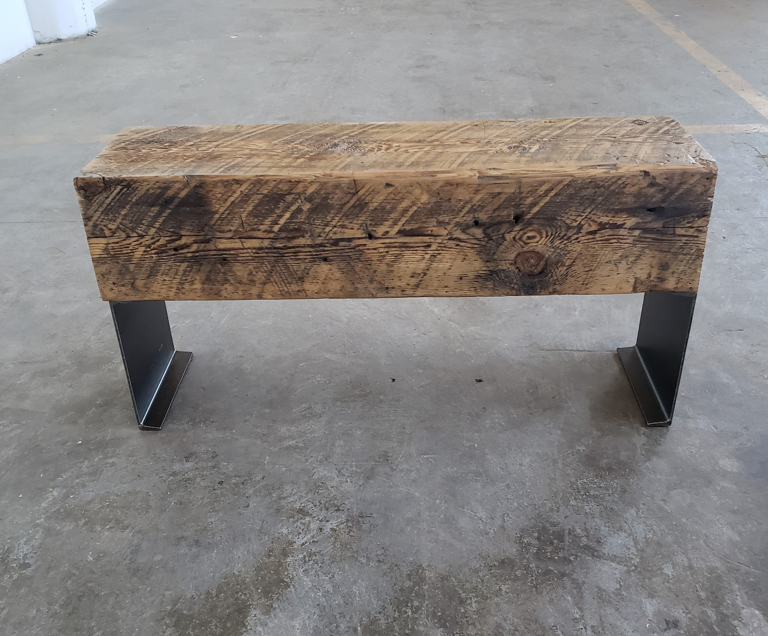 industrial side table + entryway bench