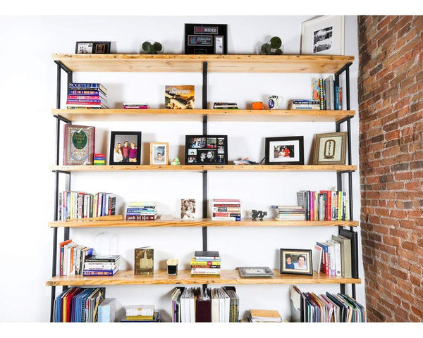 Ash Wall Mount Shelving Unit American Steel Shelf Brackets with Bookends