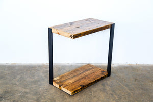 narrow side table + reclaimed pine and steel side table