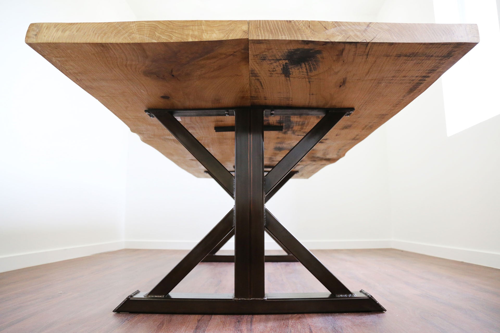 Live edge white oak trestle table + vault furniture chicago