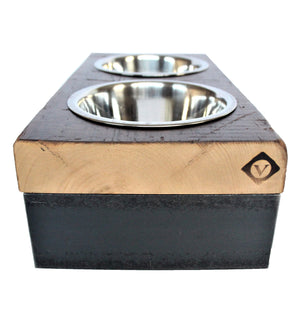 unique dog bowl + hand-made pet feeder + industrial pet bowl