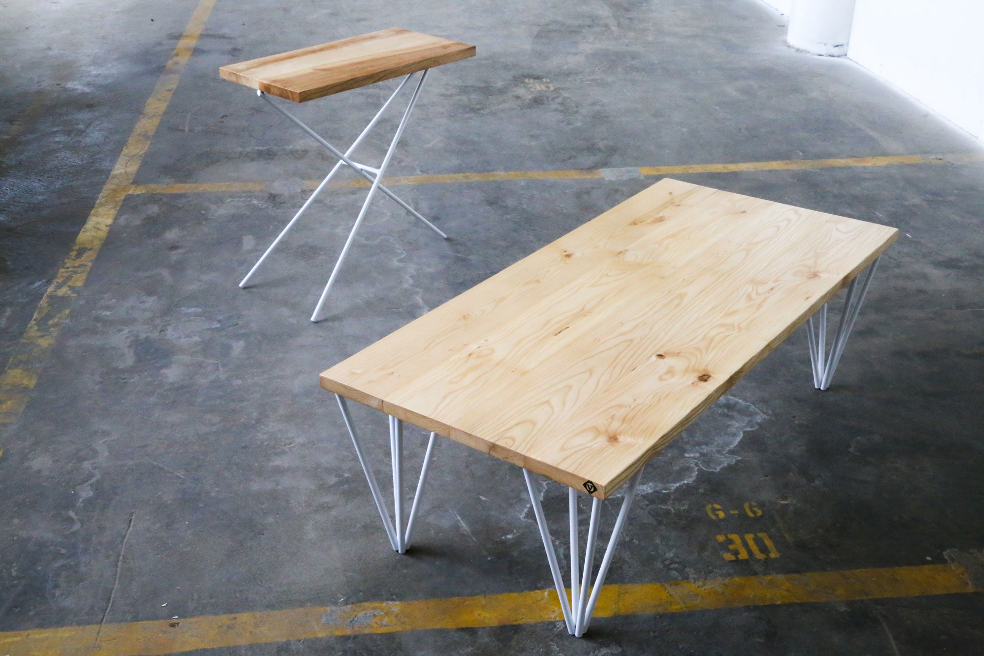 pyramid coffee table , ash coffee table , pin leg table , handmade coffee table , industrial coffee table, mid-century coffee table