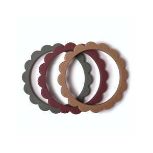 Mushie Flower bracelet (3-pack) - Dried thyme/Nat./Berry