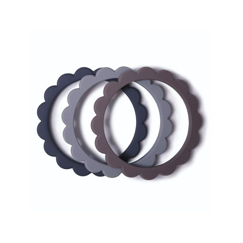 Mushie Flower bracelet (3-pack) - Steel/Dove gray/Stone
