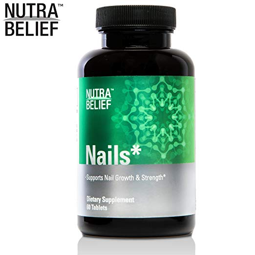 [Nutrabelief] Daily Nail Growth Supplement Pills, Enhances Nail Growth and Strength with Vitamin A, C, B6, B7, and B12-60 Capsules