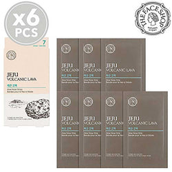 THEFACESHOP Jeju Volcanic Lava Aloe Nose Strips (7 Strips X 6 Packs)