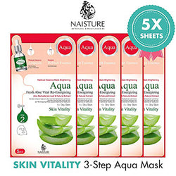 Naisture 3 Step Aqua Face Mask Pack 5 Sheets - Aloe Vera
