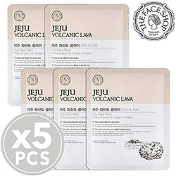 THEFACESHOP Jeju Volcanic Lava Clay Facial Mask Sheet (5 Sheets)