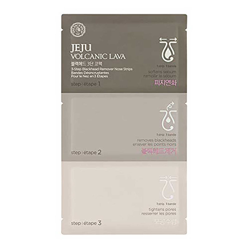 THEFACESHOP Jeju Volcanic Lava 3 Step Blackhead Remover Nose Strips (10 Packs)