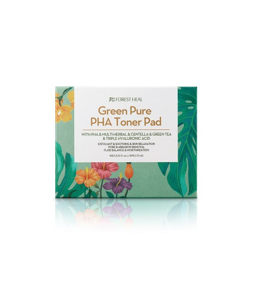 FORESTHEAL Green Pure PHA Toner Pad, Exfoliating & Moisturizing  for Sensitive Skin - 175ml / 40 ct