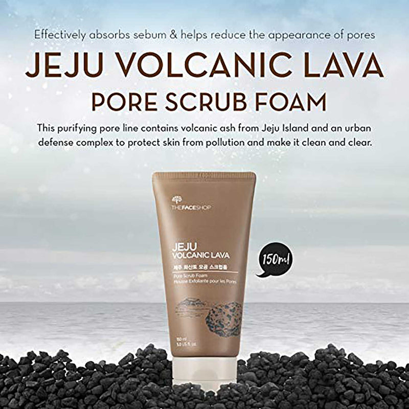 THEFACESHOP Jeju Volcanic Lava Pore Exfoliator Foaming Scrub For Facial Blackhead Cleansing (150 mL/5.0 Oz)