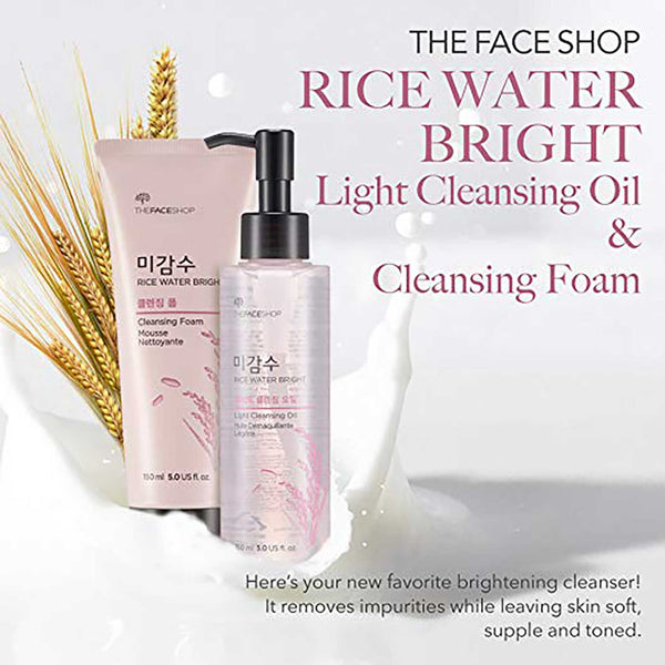 THEFACESHOP Rice Water Bright Cleansing Foam (150 mL/5.0 Oz) & Light Cleansing Oil (150 mL /5 Oz) Set