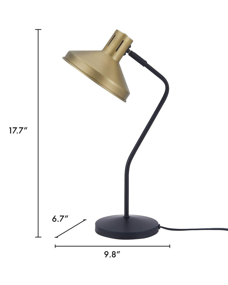 Archiology Seva Desk Lamp, Satin Black Steel Table Light with Brass Lampshade, Simple Fixture for Home Office Studio, 18""