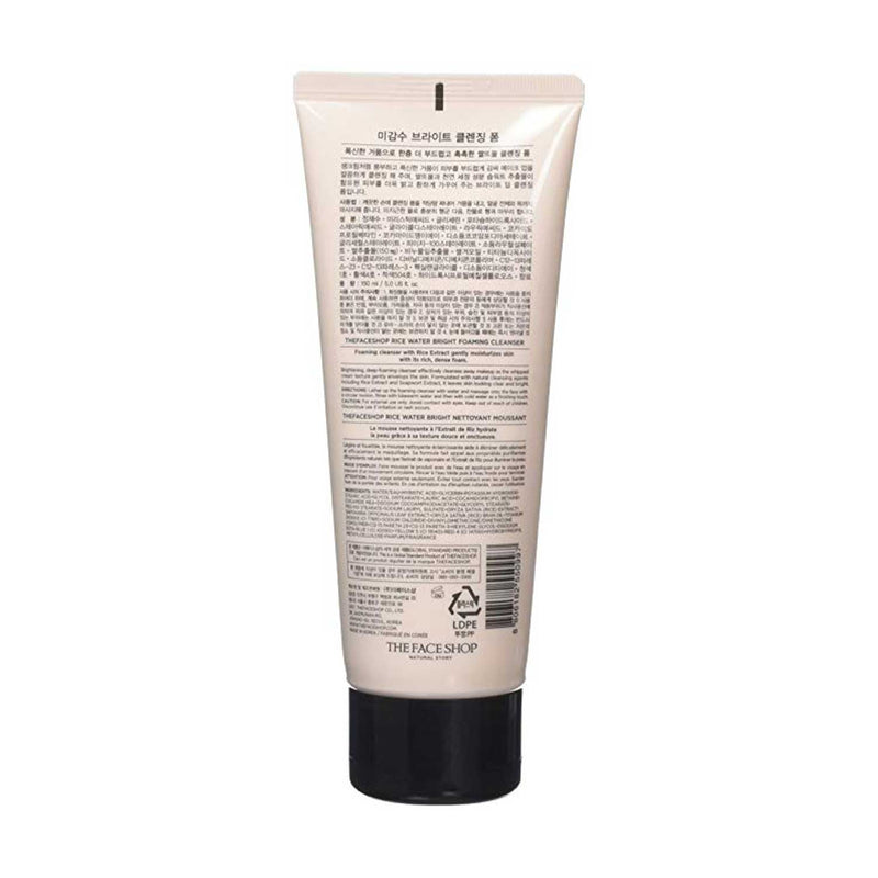 The Face Shop Rice Water Bright Foaming Cleanser with Rice Bran for Removing Dead Skin, Hydrating and Soothing Skin, 150 ml