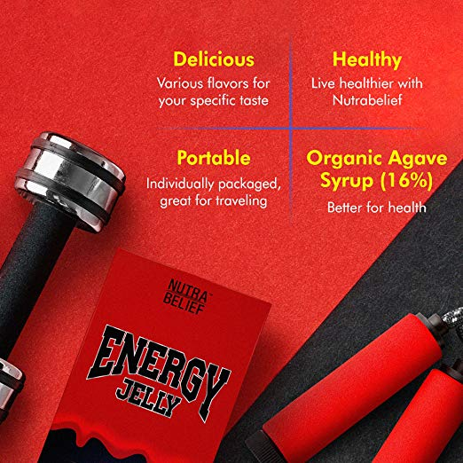 Energy Jelly Caffeine Sticks - Edible Gel Chews, Squeeze Tubes for Sports Endurance, Strength & Stamina with Electrolytes, Organic Agave, Taurine & Vitamin B12 200 mcg - Red Bull Flavor (10 Count)