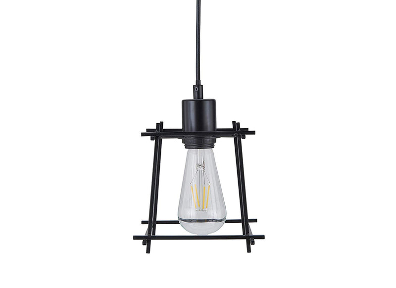 "[Archiology] Hanging Pendant Lighting, Overhead Lamp Modern Steel Cage Light for Kitchen Island, Living Room with 60"" Cable - Black"