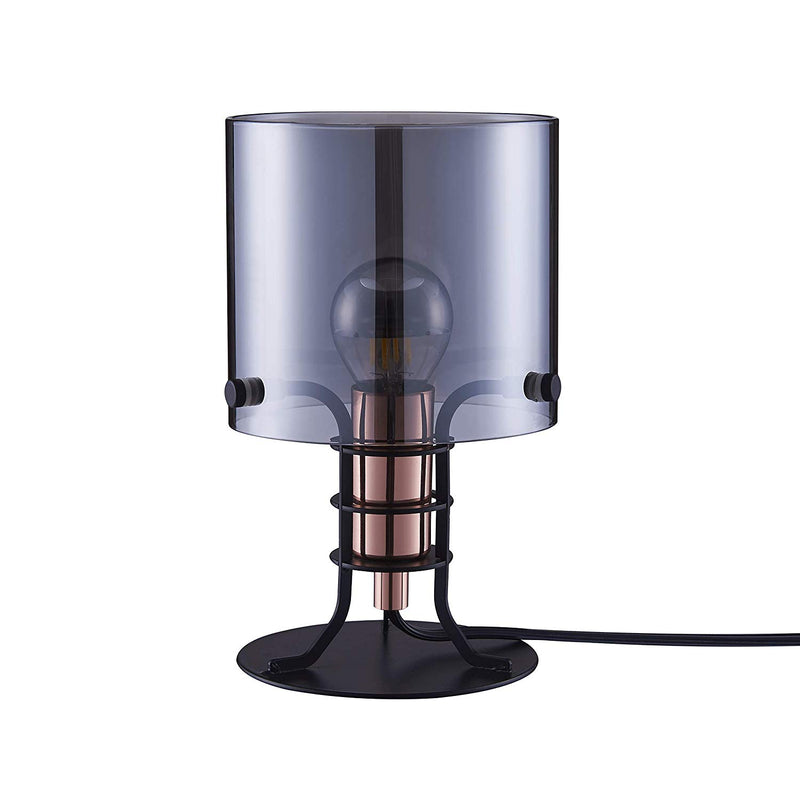 [Archiology] Gio Table Lamp, Modern Satin Black Steel Light, Ambient Lighting for Home and Office with Smoke Grey Glass Shade, 8""
