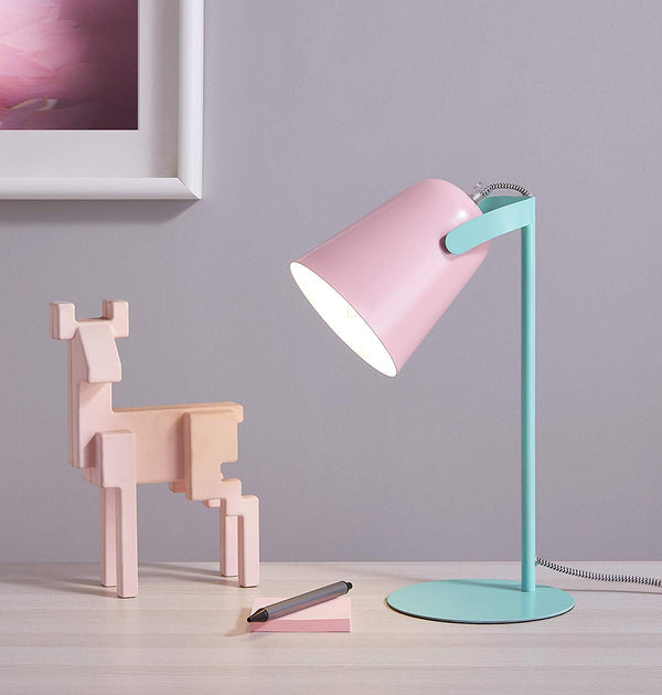 [Archiology] Bot Desk Lamp, Matte Pink and Green Table Light, Cute Pastel Design for Reading and Bedroom Lighting, 15""