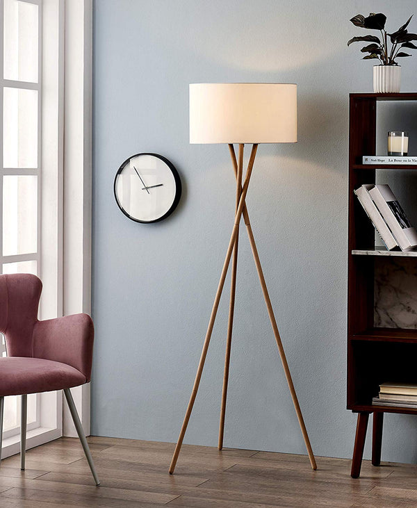[Archiology] NOA Wood Tripod LED Floor Lamp - Modern Living Room Standing Light