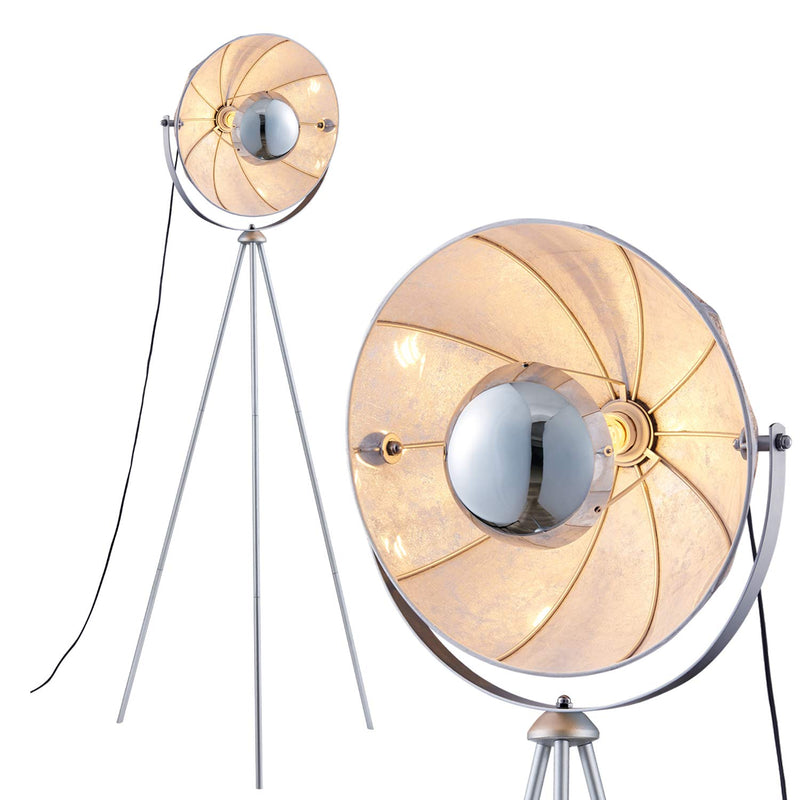 [Archiology] Mid Century Modern Tripod Floor Lamp, Standing Light with Chrome Shade for Living Rooms and Bedrooms