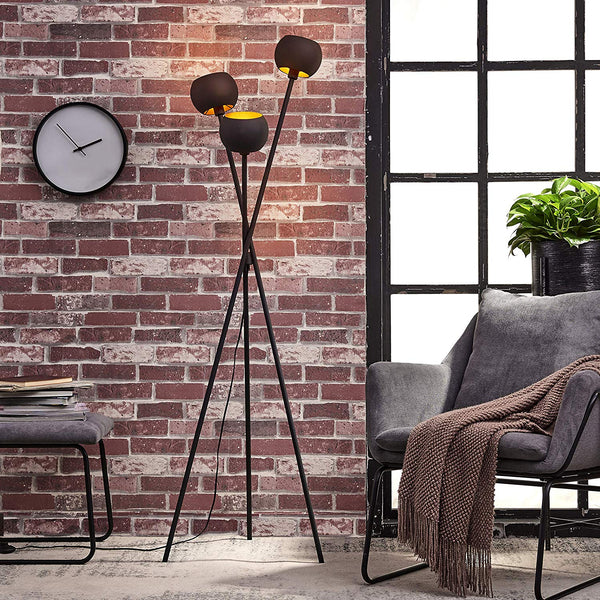 [Archiology] TRI Black Metal Globe Head Tripod Floor Lamp - Mid Century Modern Living Room Standing Light