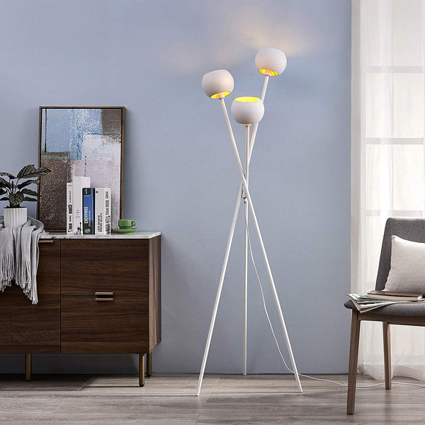 Archiology Modern Tripod Floor Lamp, Standing Light with Orb Shade Uplight for Living Room or Bedroom White