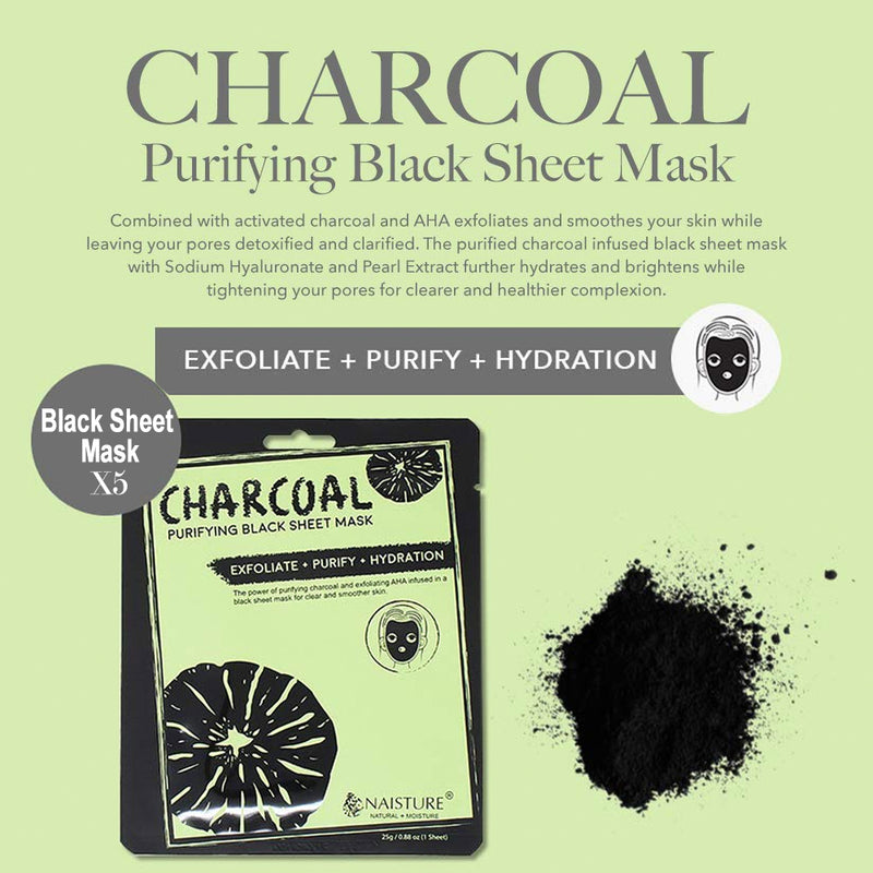 Naisture Black Charcoal Peel Off Face Mask Set 12Pcs