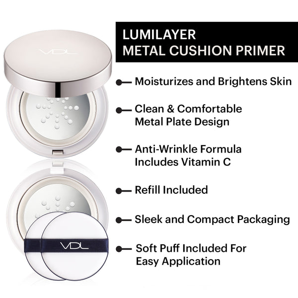 VDL Lumilayer Metal Cushion Primer - Moisturizing & Refreshing, Bright & Transparent Finish, Whitening, Light-Infusing (30 g / 0.52 OZ)