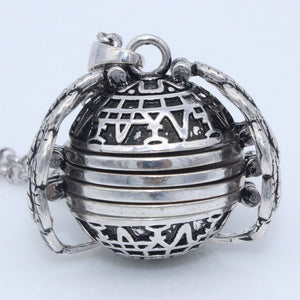Antique Silver Four Photo Locket Angel Wing Necklace-USmeditate