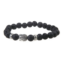 Buddha Head Stone Lava Beaded Bracelet Jewelry-USmeditate