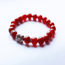 Natural Red Onyx Beaded Buddha Bracelet-USmeditate