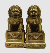 Christmas China Chinese Brass Folk Fengshui Foo Fu Dog Guardion Door Lion Statue Pair-USmeditate