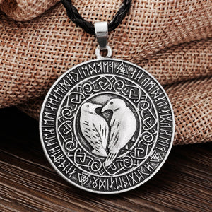 Vikings Pendant Necklace Valknut Raven-USmeditate
