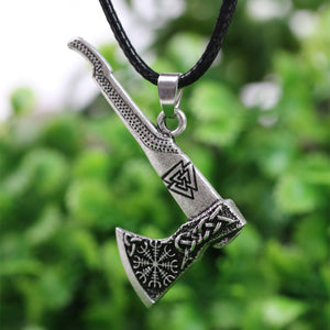 Viking Necklace Nordic Viking Valknut and Vegvisir Axe-USmeditate