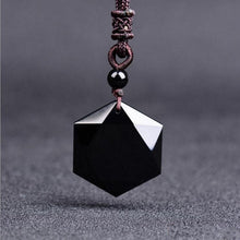 Black Natural Stone Pendant Necklaces For Women and Men Cubic Hexagram-USmeditate